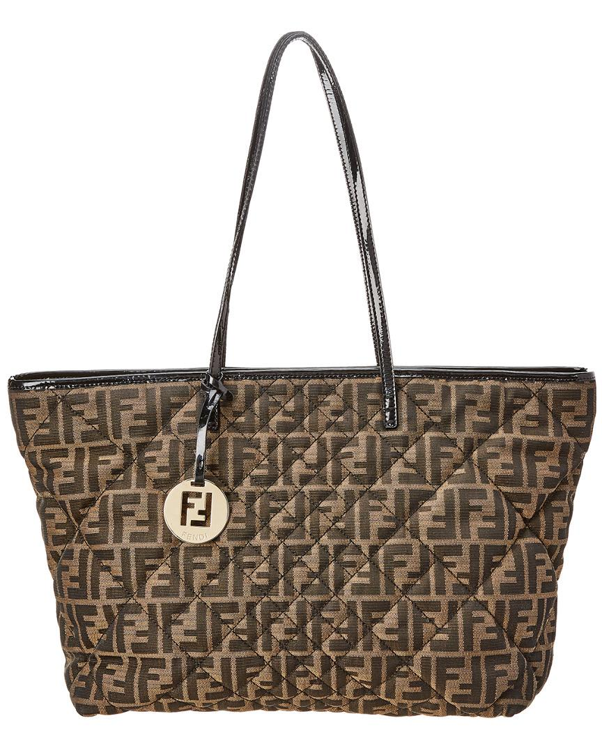 08fe72351967 Lyst - Fendi Brown Zucca Quilted Canvas Tote in Brown