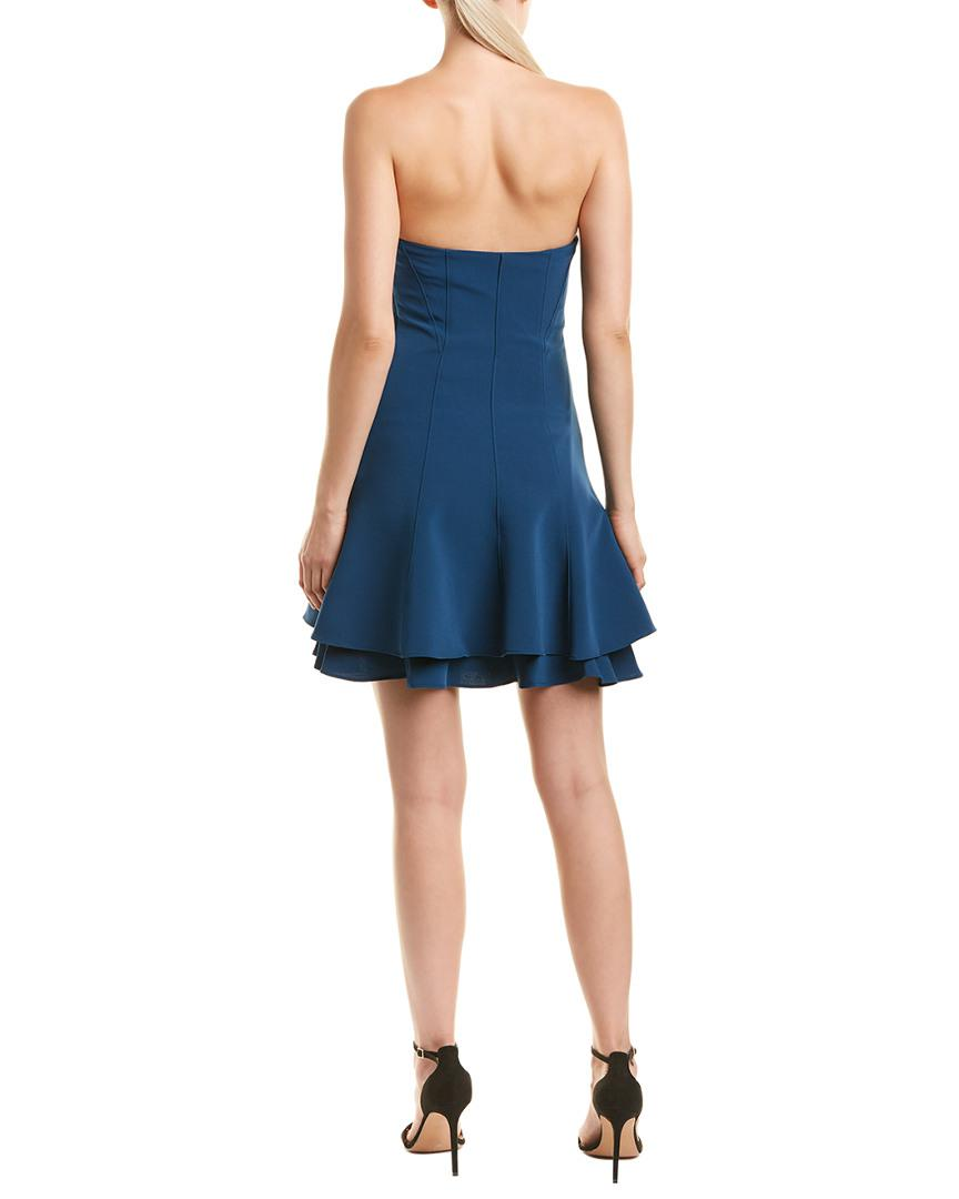 4132247085df Lyst - Cinq À Sept Tansy Strapless Ruffled Crepe Mini Dress in Blue - Save  0.625%