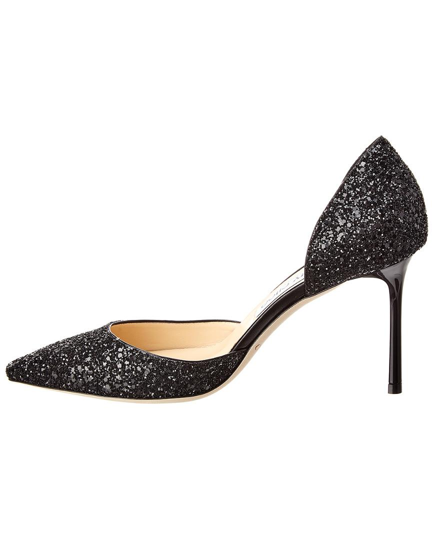 0c1ec6d34965 Lyst - Jimmy Choo Esther 85 Glitter Fabric Pump in Black - Save 12%