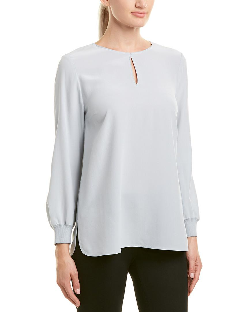 0262c36412c41 Lyst - Lafayette 148 New York Ariel Silk Blouse in White