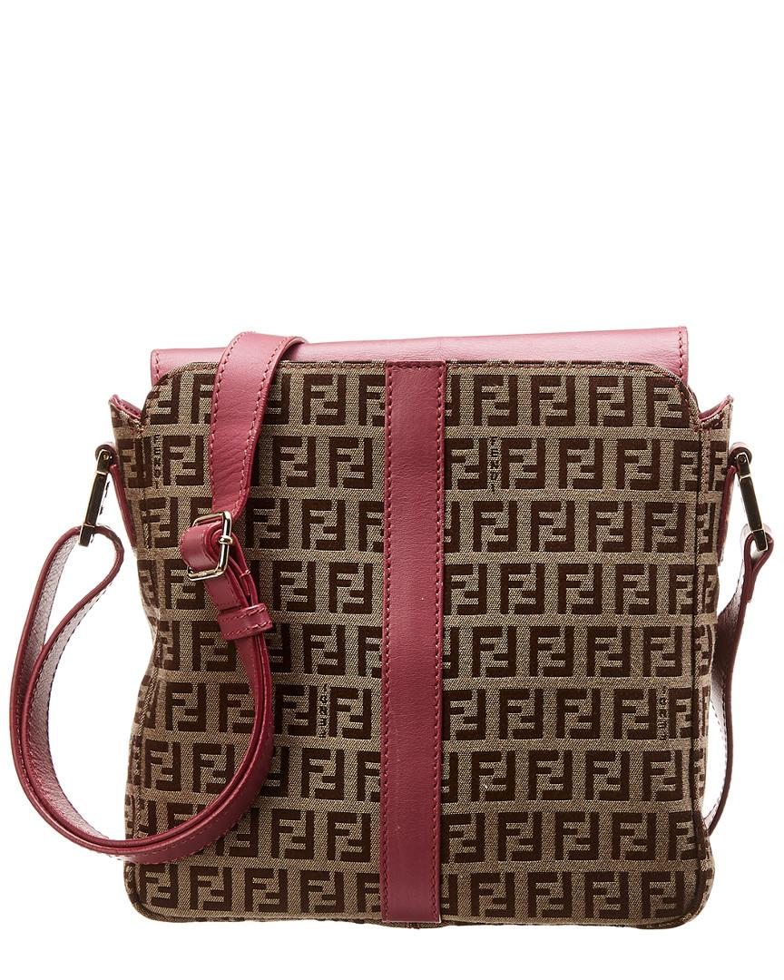5cd834b4d Fendi. Women's Brown Zucchino Canvas & Pink Leather Messenger Bag