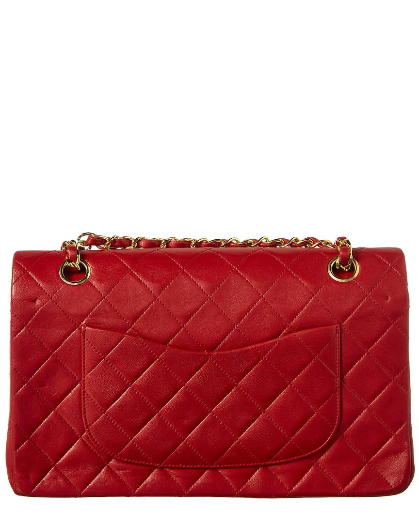 5b214e6206cec2 Lyst - Chanel Red Quilted Lambskin Leather Medium Flap Bag in Red