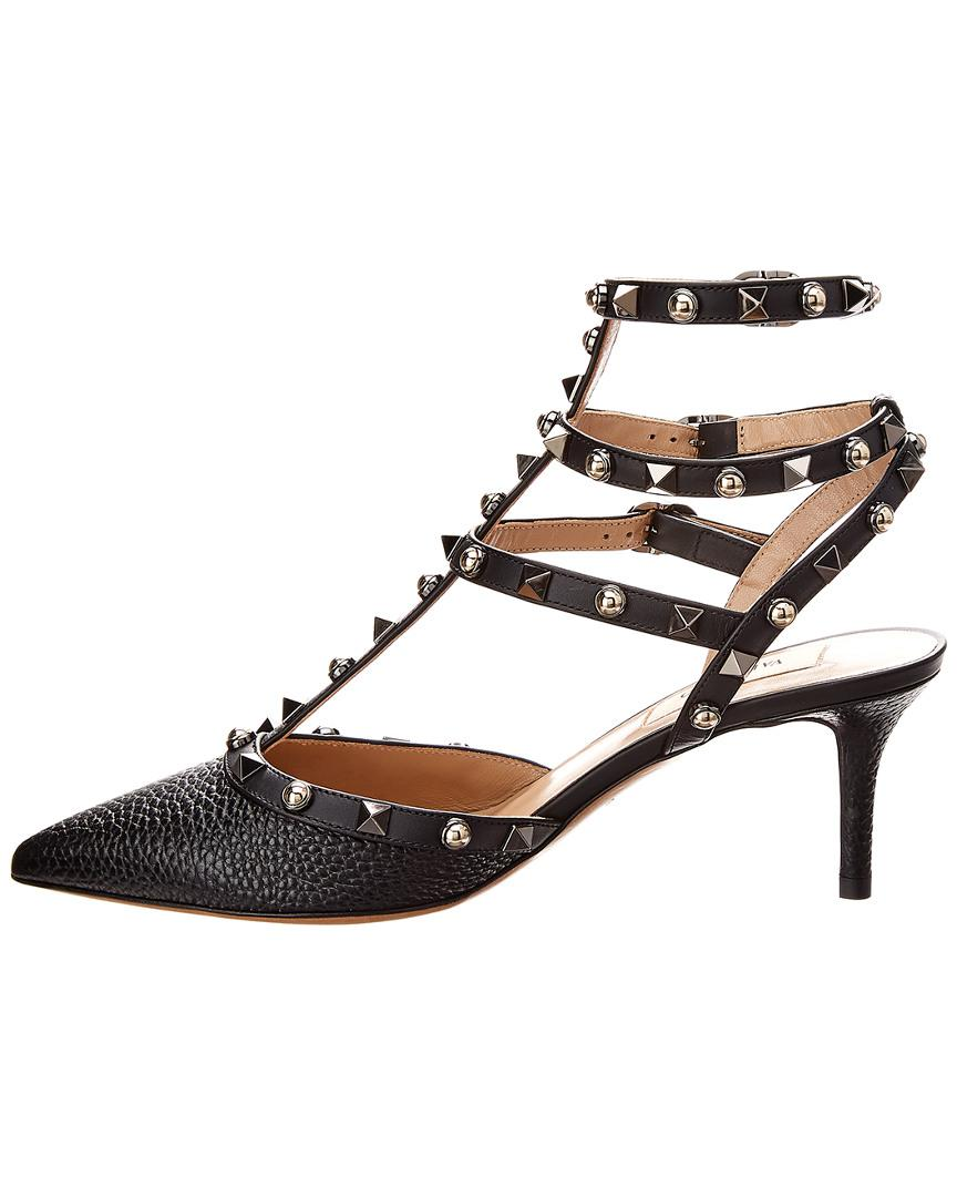 d98c56d575ed Lyst - Valentino Cage Rockstud 65 Rolling Leather Ankle Strap Pump in Black