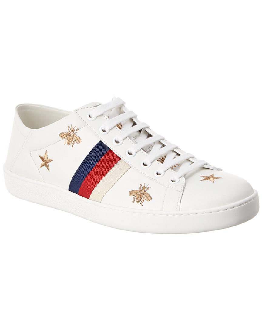 6d8874d62f4 Lyst - Gucci New Ace Embroidered Low-top Leather Trainers