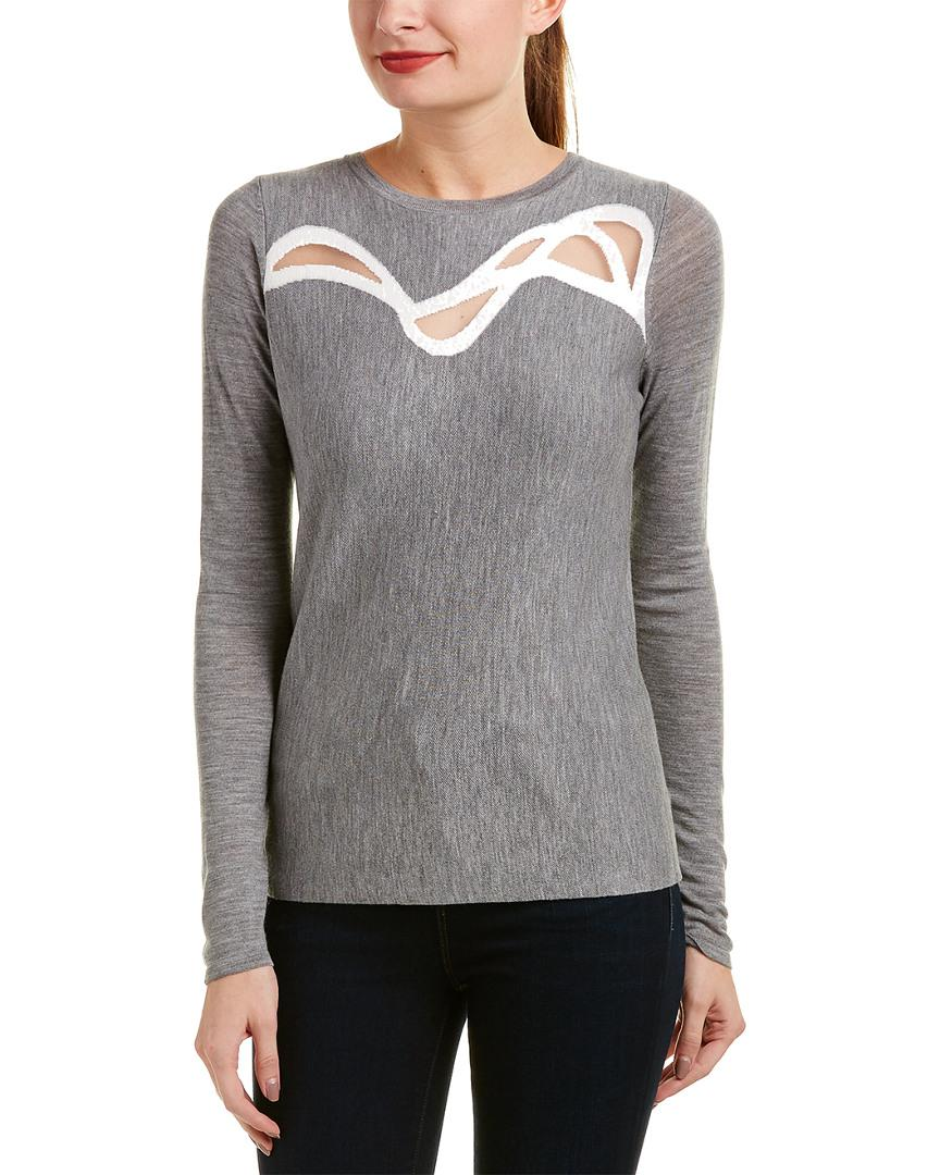 e6348cbcde5431 Lyst - Elie Tahari Wool Sweater in Gray - Save 25%