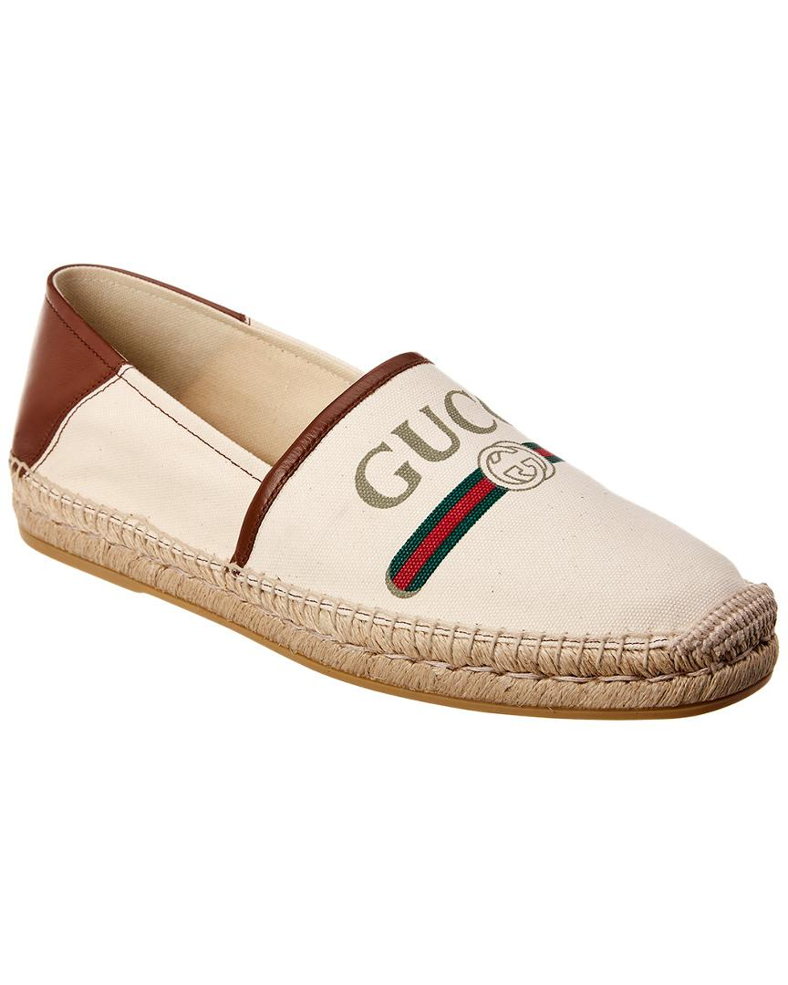 84fc33e1c Gucci Logo Canvas & Leather Espadrille in Brown for Men - Lyst