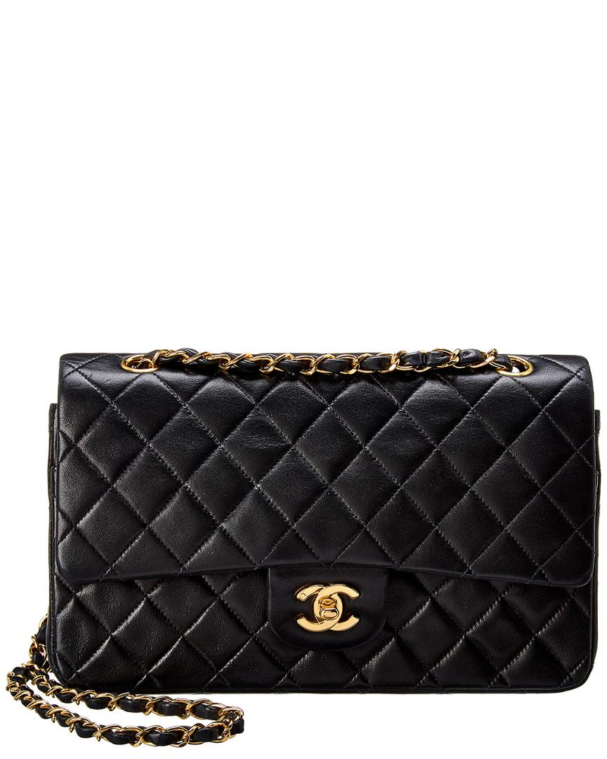 700466a66bf8 Lyst - Chanel Black Quilted Lambskin Leather Medium Double Flap Bag ...