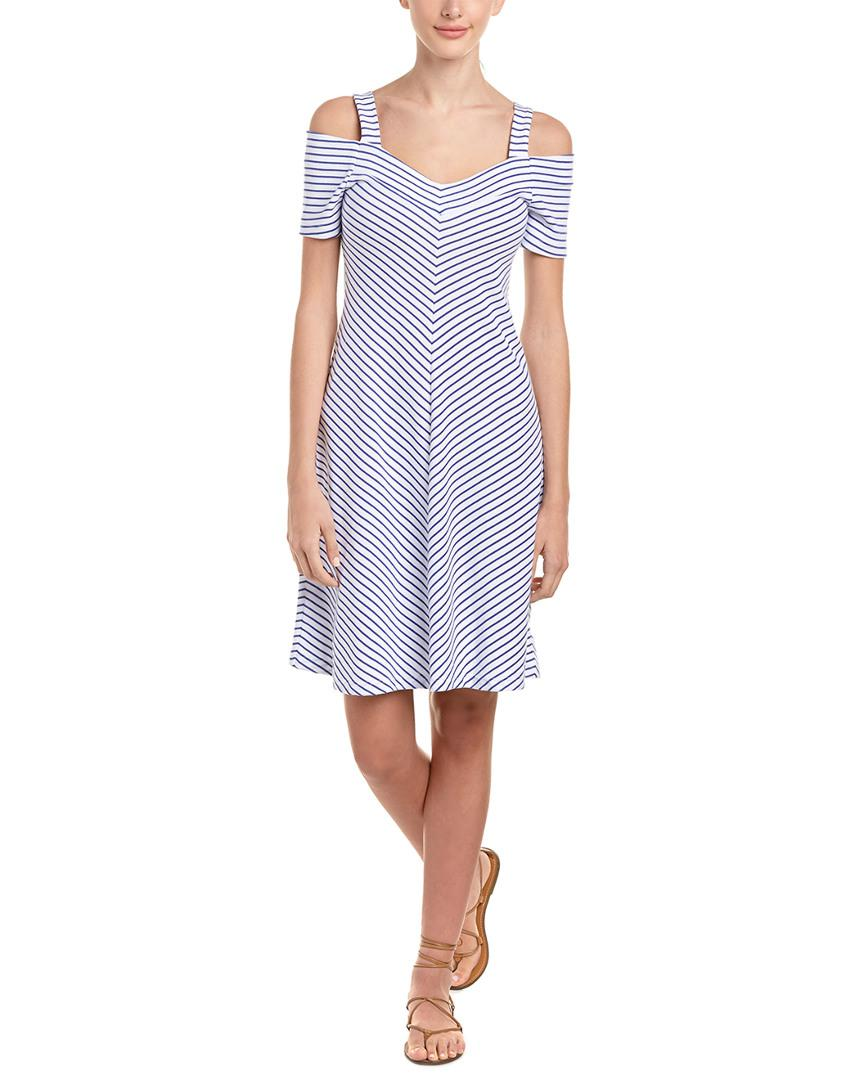 Lyst - Three Dots Cold-shoulder A-line Dress in Blue fcaf094dc3