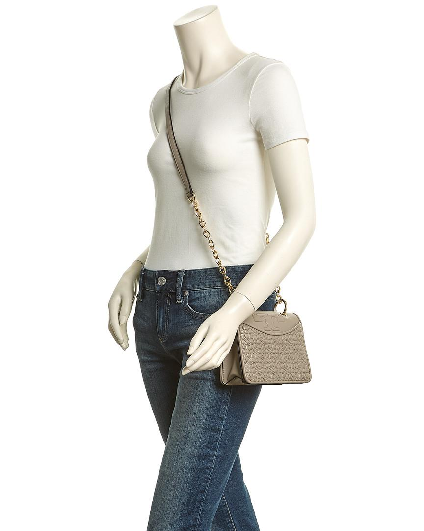 f361c86623 Tory Burch Bryant Quilted Leather Mini Crossbody Shoulder in Gray - Lyst
