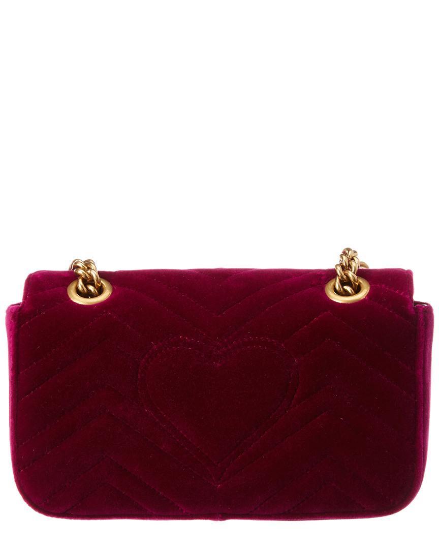 3e1693629a3 Gucci GG Marmont Mini Velvet Shoulder Bag - Lyst