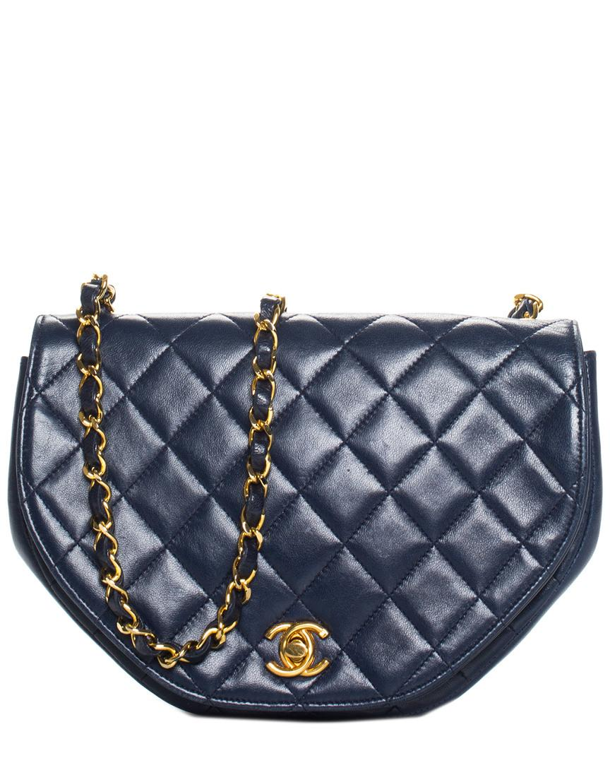 7a0229e88c87 Lyst - Chanel Navy Quilted Lambskin Leather Half Moon Crossbody in Blue