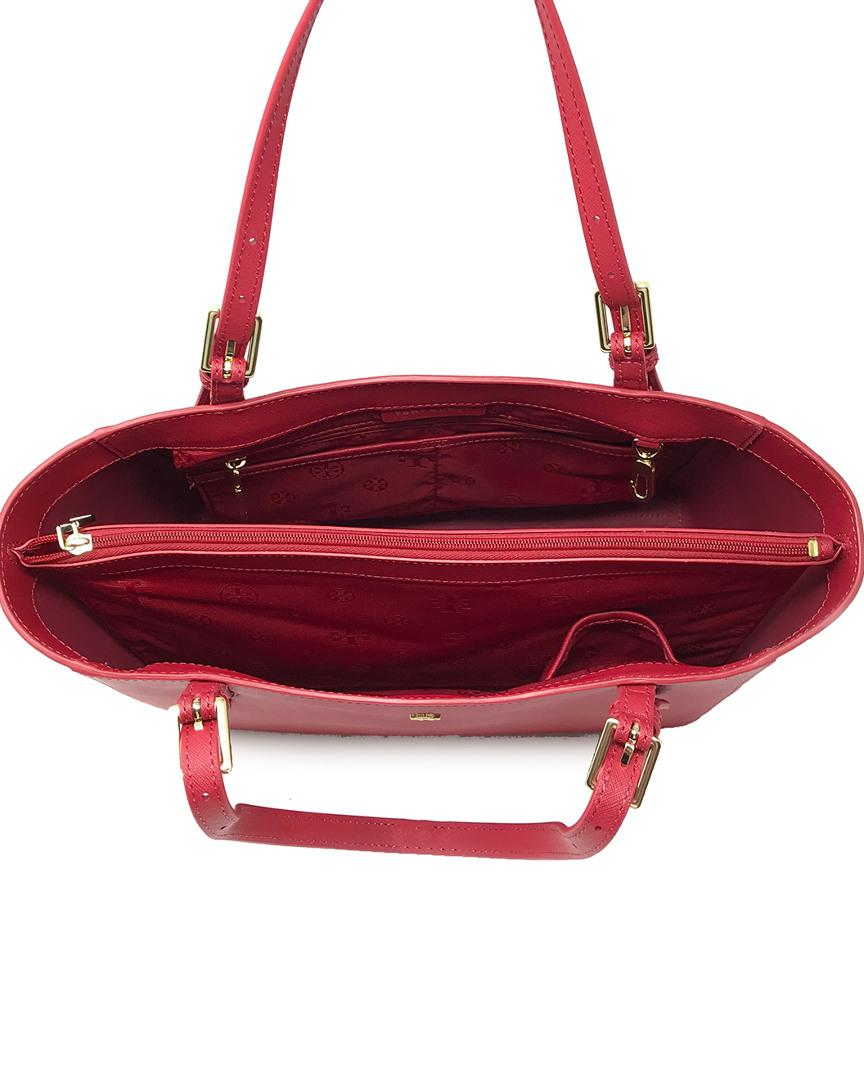 24926df16bc6 Lyst - Tory Burch Emerson Small Leather Buckle Tote in Red