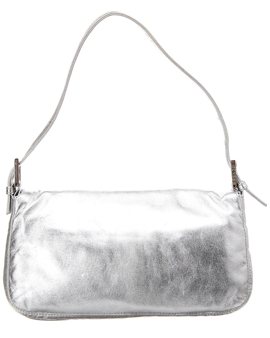 Lyst - Fendi Limited Edition Silver Metallic Leather Baguette in ... f0c29e4ee11de