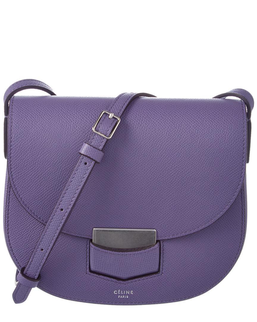 Lyst - Céline Trotteur Small Leather Shoulder Bag in Purple 8ece76510e