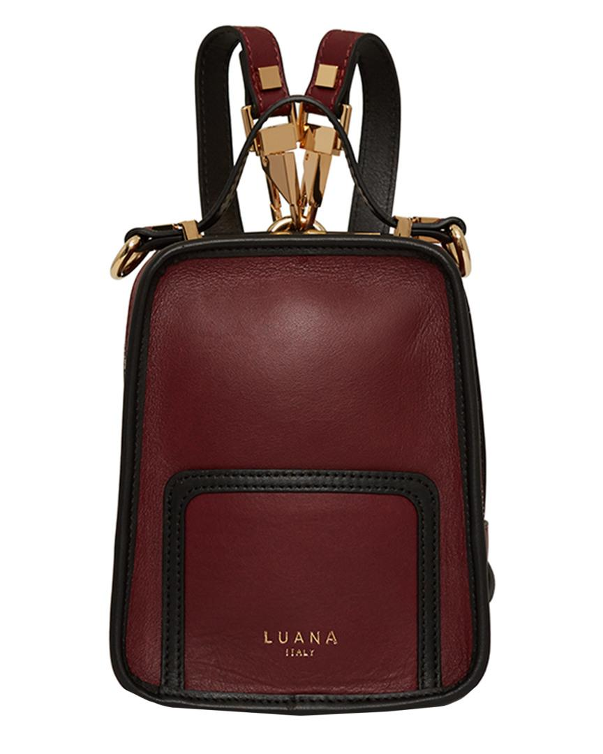 a1edd574a084 Lyst - Luana Italy Margherita Mini Leather Backpack in Red