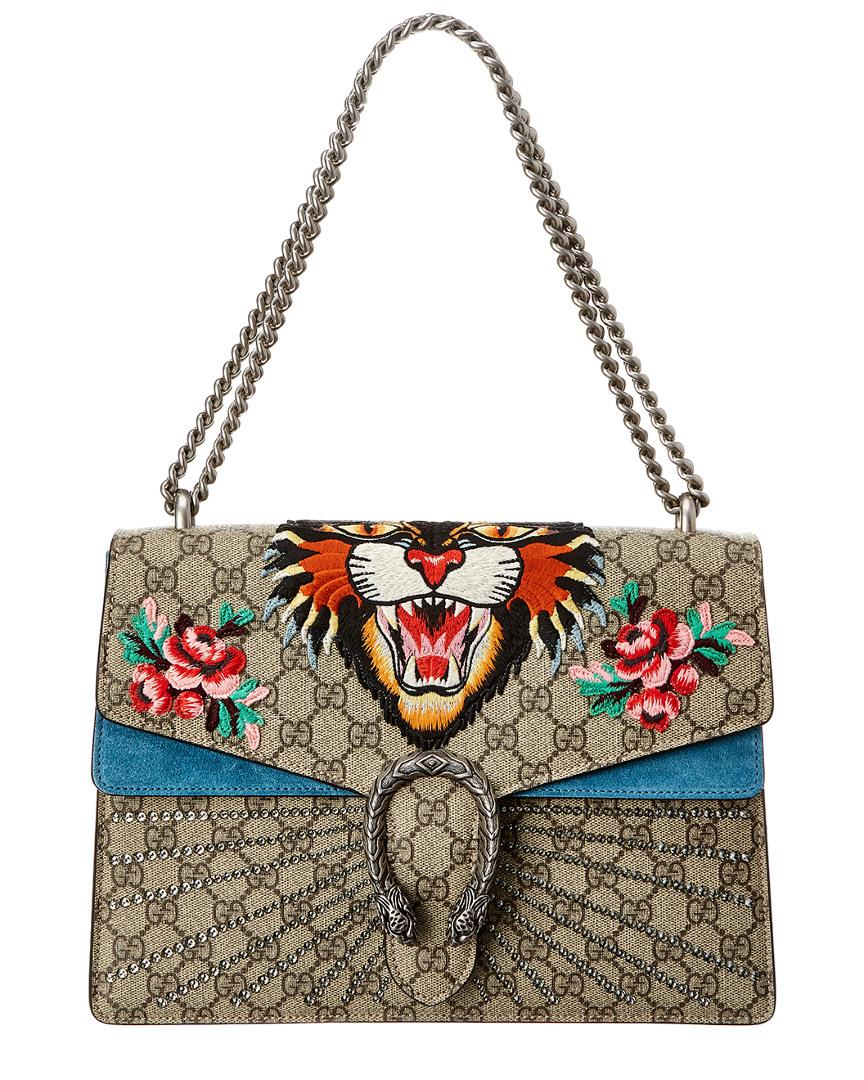 64b64b83750c Gucci. Women's Blue Dionysus Tiger Embroidered GG Supreme Canvas & Suede  Shoulder Bag