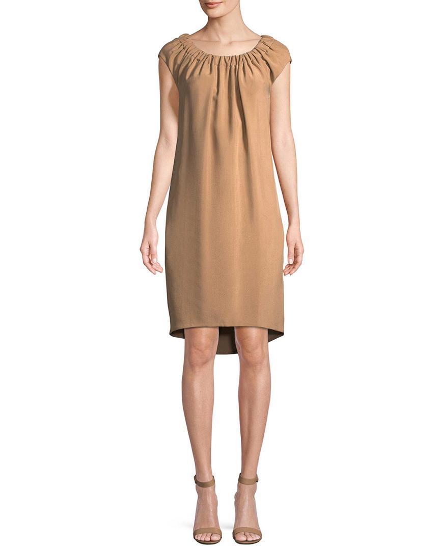 ec644dd7cc Lyst - Akris Solid Silk Shift Dress in Natural - Save 70%