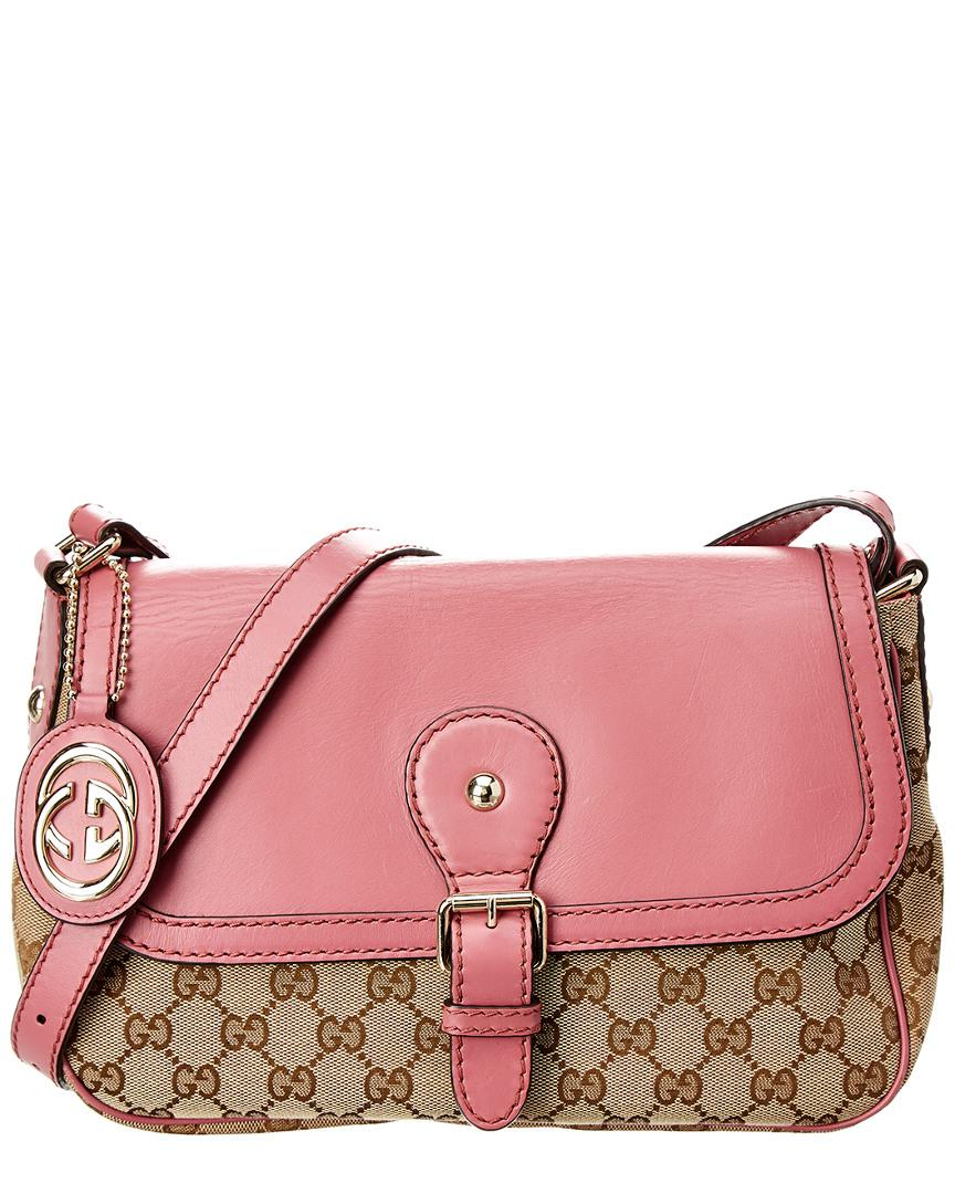 a9efb3a9627 Lyst - Gucci Brown GG Canvas   Pink Leather Sukey Shoulder Bag in Pink