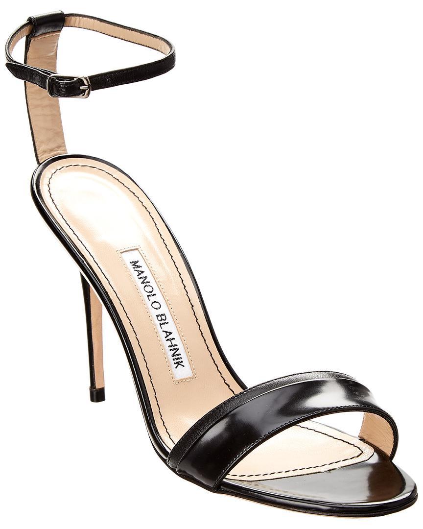 Manolo Blahnik Spezia 105 Leather Sandal in Black - Lyst bcc4e1cf2c0