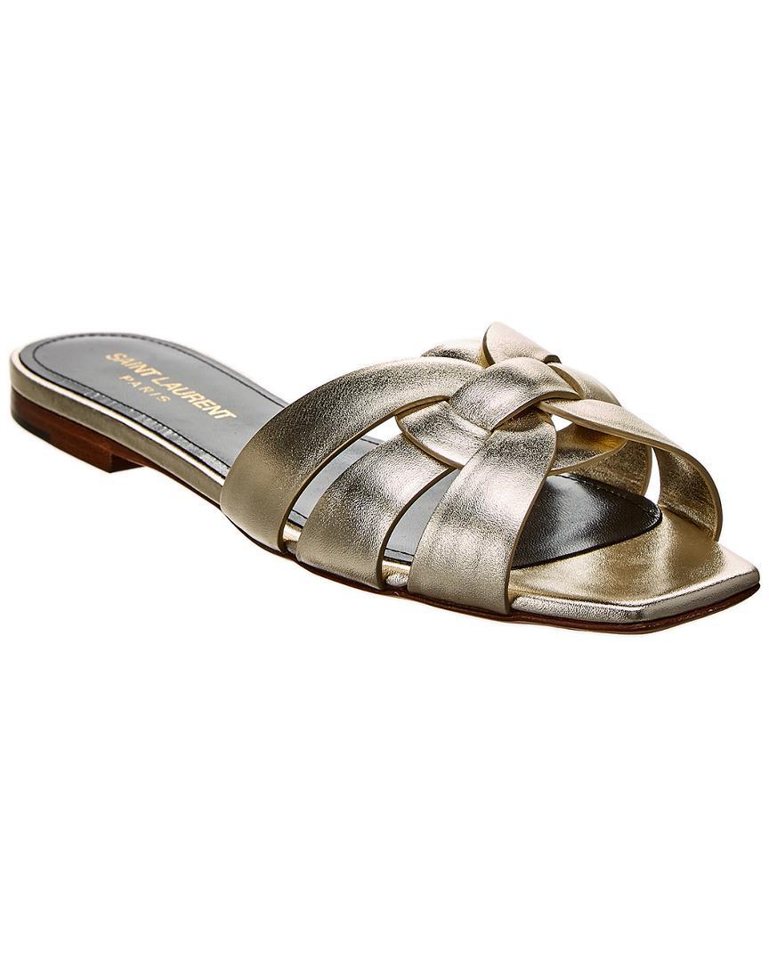 05550ee0d2e1 Saint Laurent. Women s Metallic Nu Pieds 05 Tribute Leather Slide Sandal