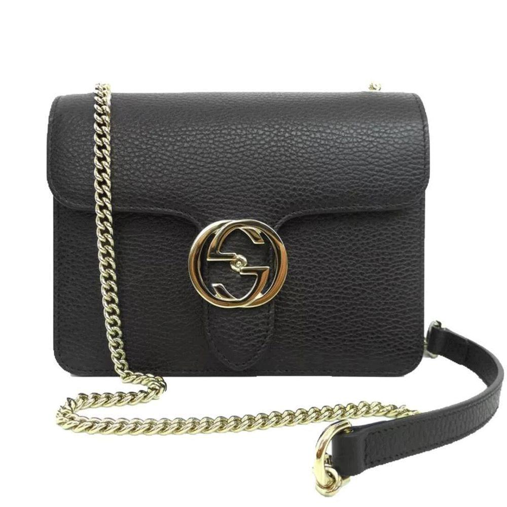 89e29e66cc5 Lyst - Gucci Black Leather Marmont Interlocking GG Crossbody Bag in ...