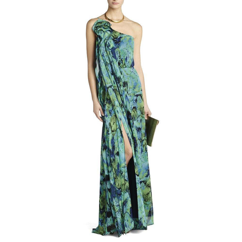 bab9968745 Lyst - BCBGMAXAZRIA Nalda One-shoulder Long Ruffle Dress in Green