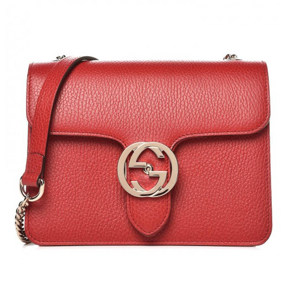14f0bcf23 Gucci Red Leather Marmont Interlocking GG Crossbody Bag in Red - Lyst