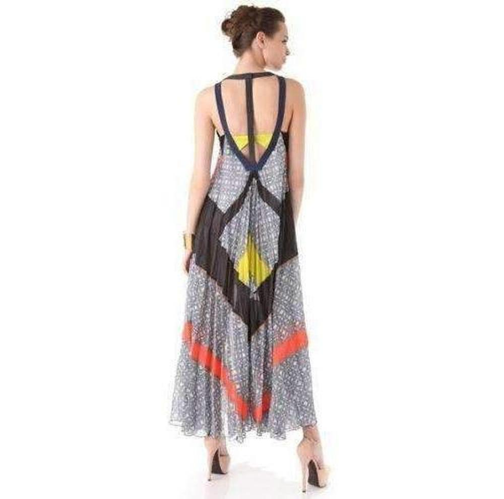 0581765fb2 BCBGMAXAZRIA Runway The Ella Dress In Color Block Printed Silk - Lyst
