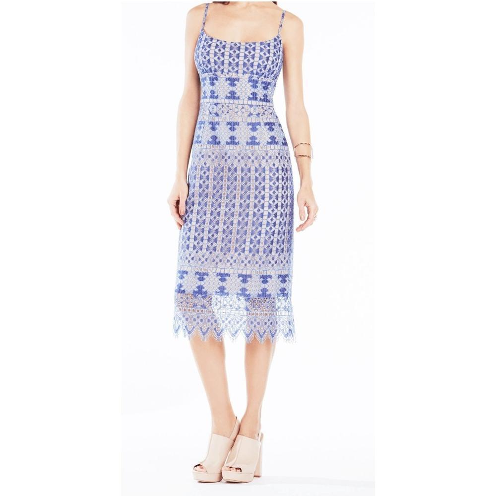 Bcbgmaxazria Women S Bcbg Maxazria Alese Light Blue Asymmetrical Geometric Lace Dress