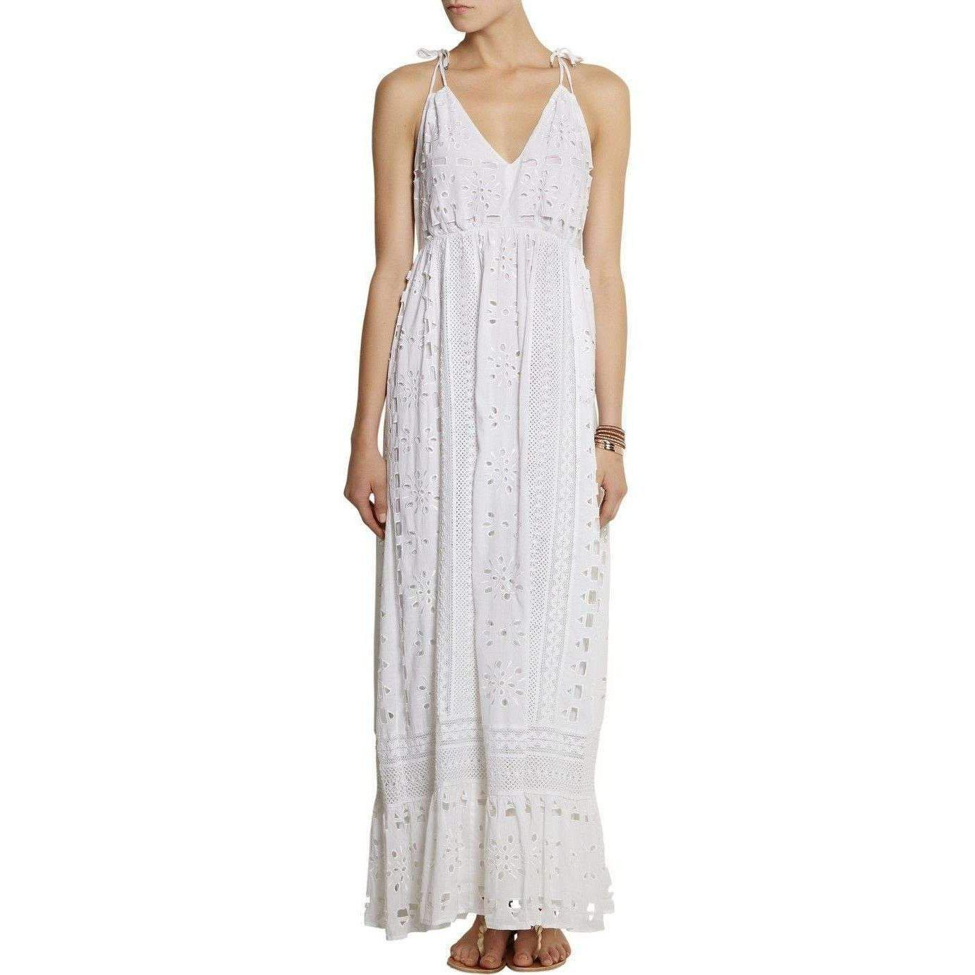Michael Kors Michael By White Eyelet Maxi Peasant Dress in White - Lyst 2ed63b097