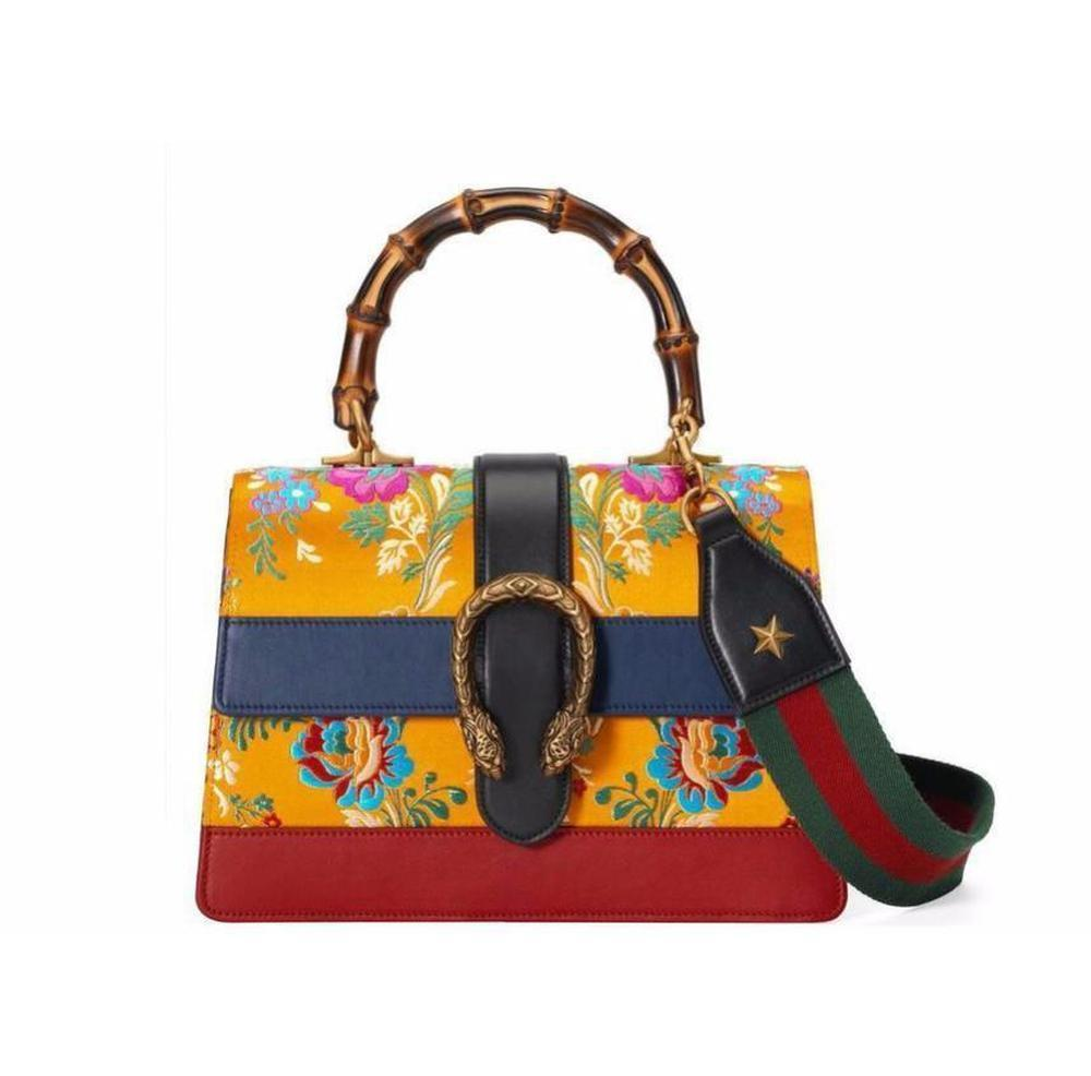 8906dd6861e Lyst - Gucci Dionysus Medium Yellow Jacquard Bamboo Top-handle Bag