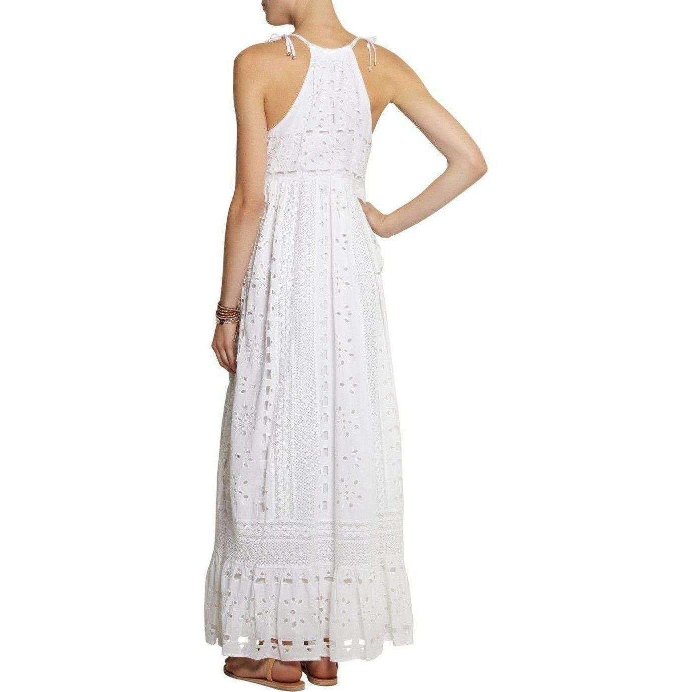 Lyst - Michael Kors Michael By White Eyelet Maxi Peasant Dress in White b4d2faf2e