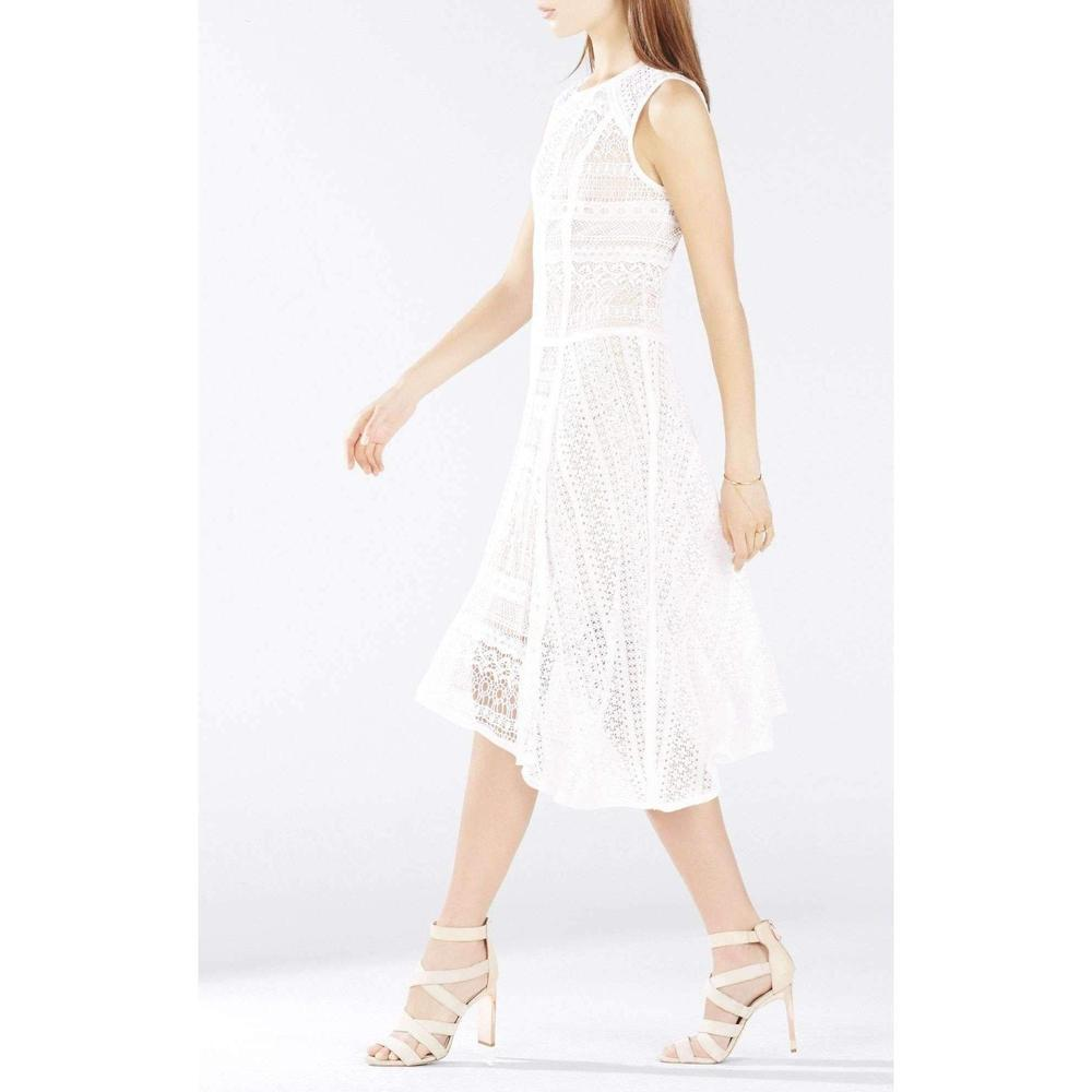 9091df1340d BCBGMAXAZRIA. Women s White Claudette Lace Blocked Scarf Hem Dress.  307  From Runway Catalog