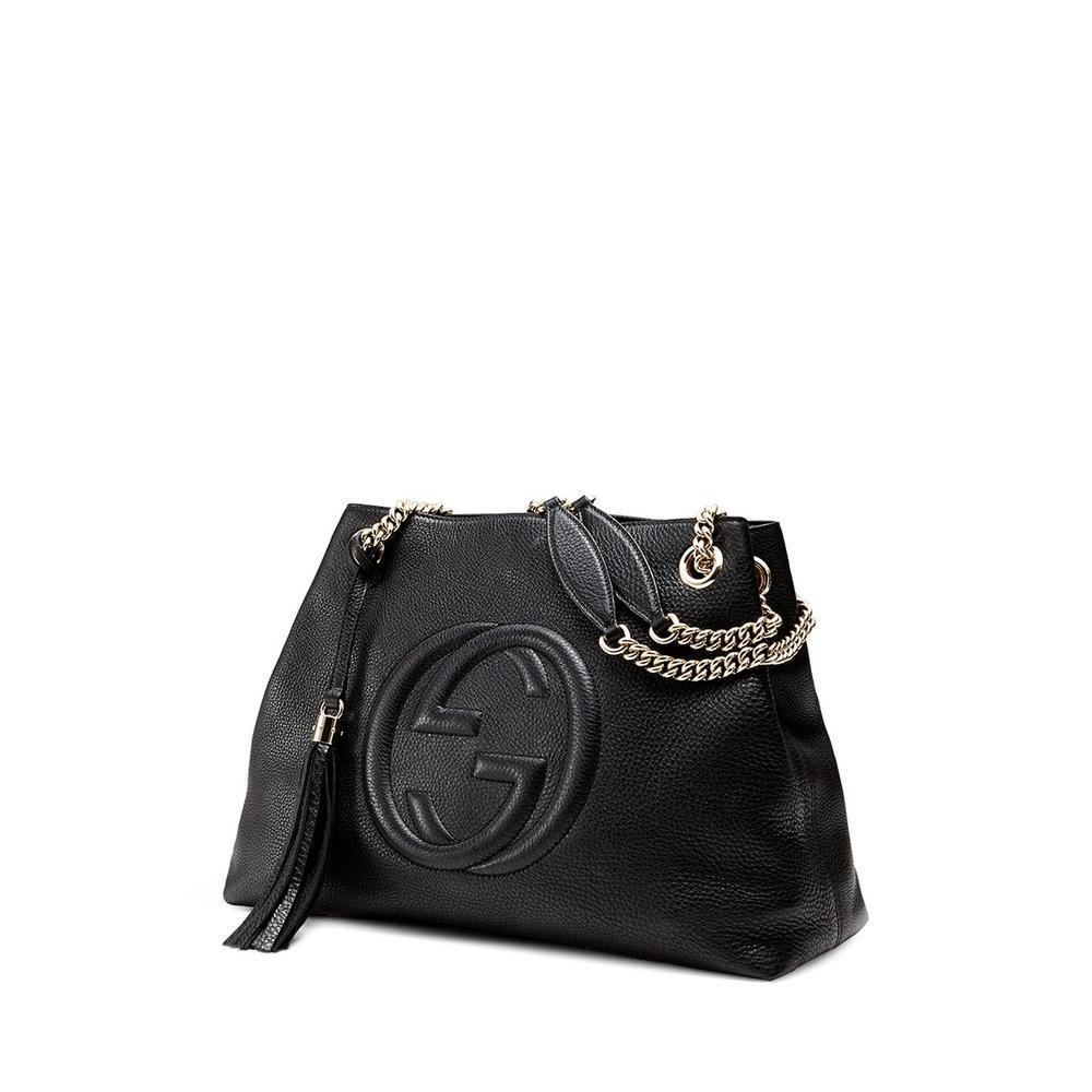 6d359e0392 Gucci - Soho Leather Medium Chain-strap Tote, Black - Lyst. View fullscreen