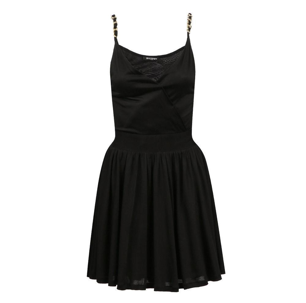 3f653701 Balmain Black Fitted Wrap Metal Chain Straps Dress in Black - Lyst