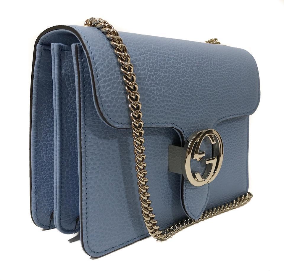 4aaa8dd0b7d7 Gucci - Blue Leather Marmont Interlocking GG Crossbody Bag - Lyst. View  fullscreen