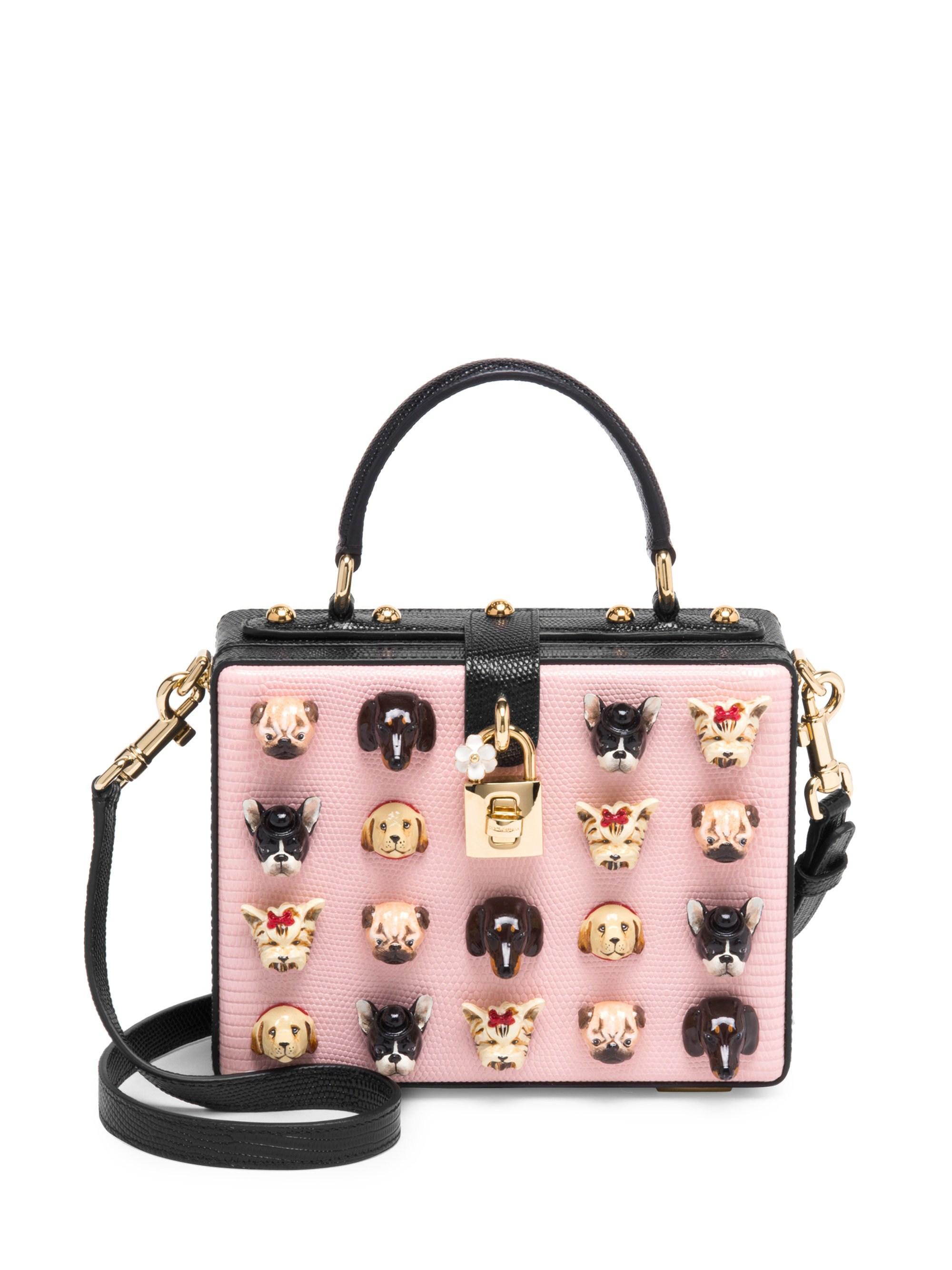 da5046d3b894 Dolce   Gabbana. Women s Dog Embellished Leather Box Bag - Pink Black