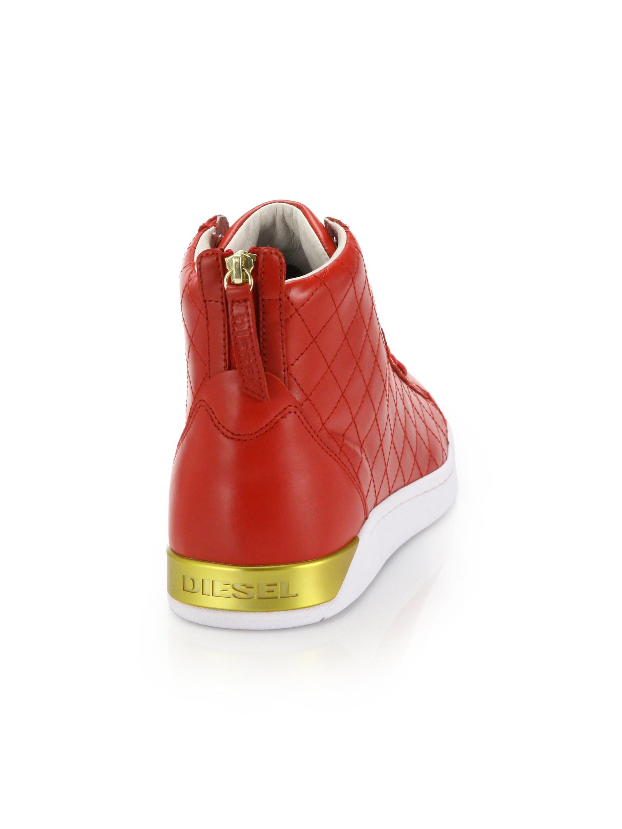 c9607874dd DIESEL Men s Tempus Diamond Leather High-top Sneakers - Red in Red ...