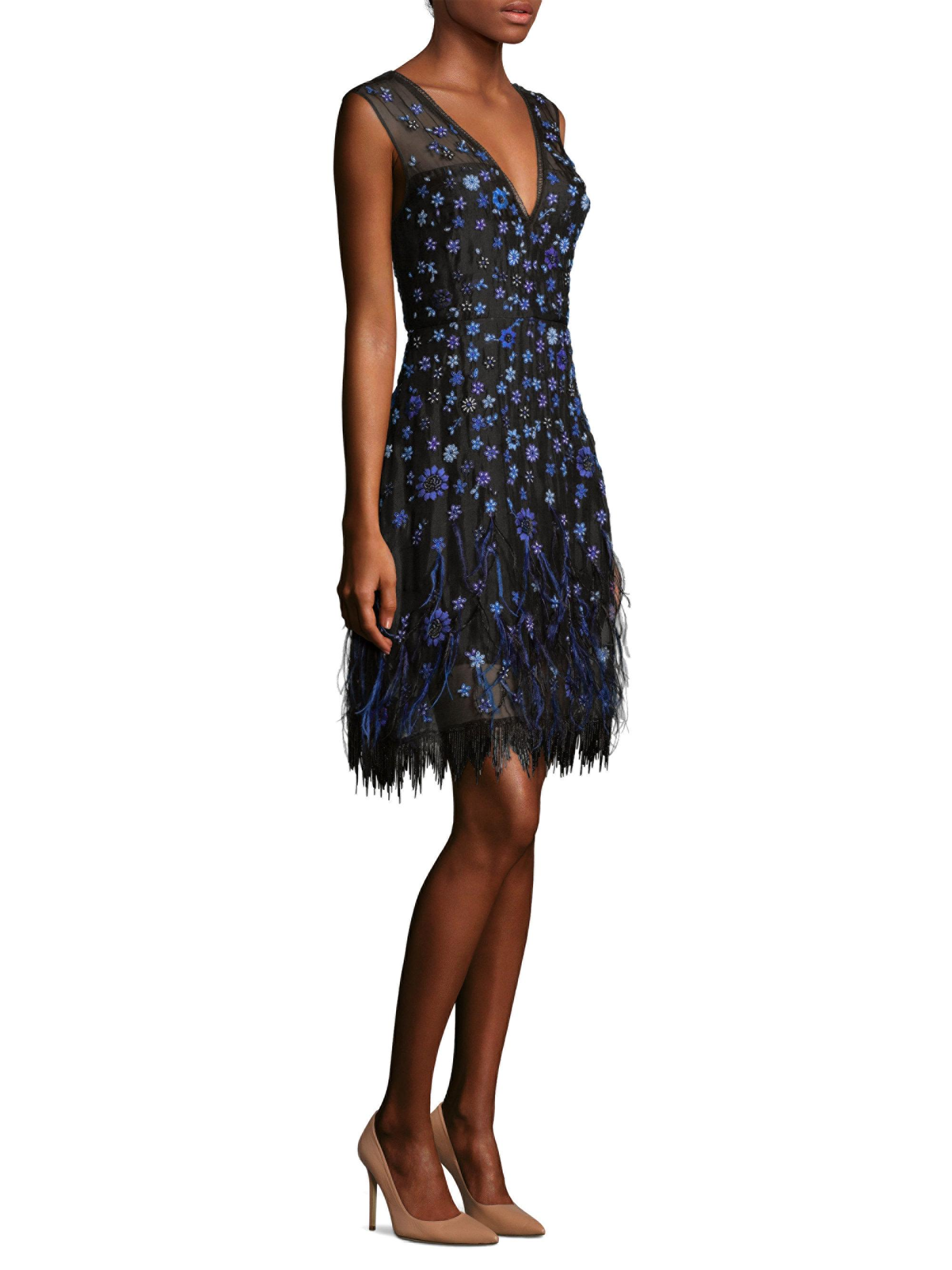 f92bce51fb169 Elie Tahari Jayla Feathered Floral Dress in Black - Lyst