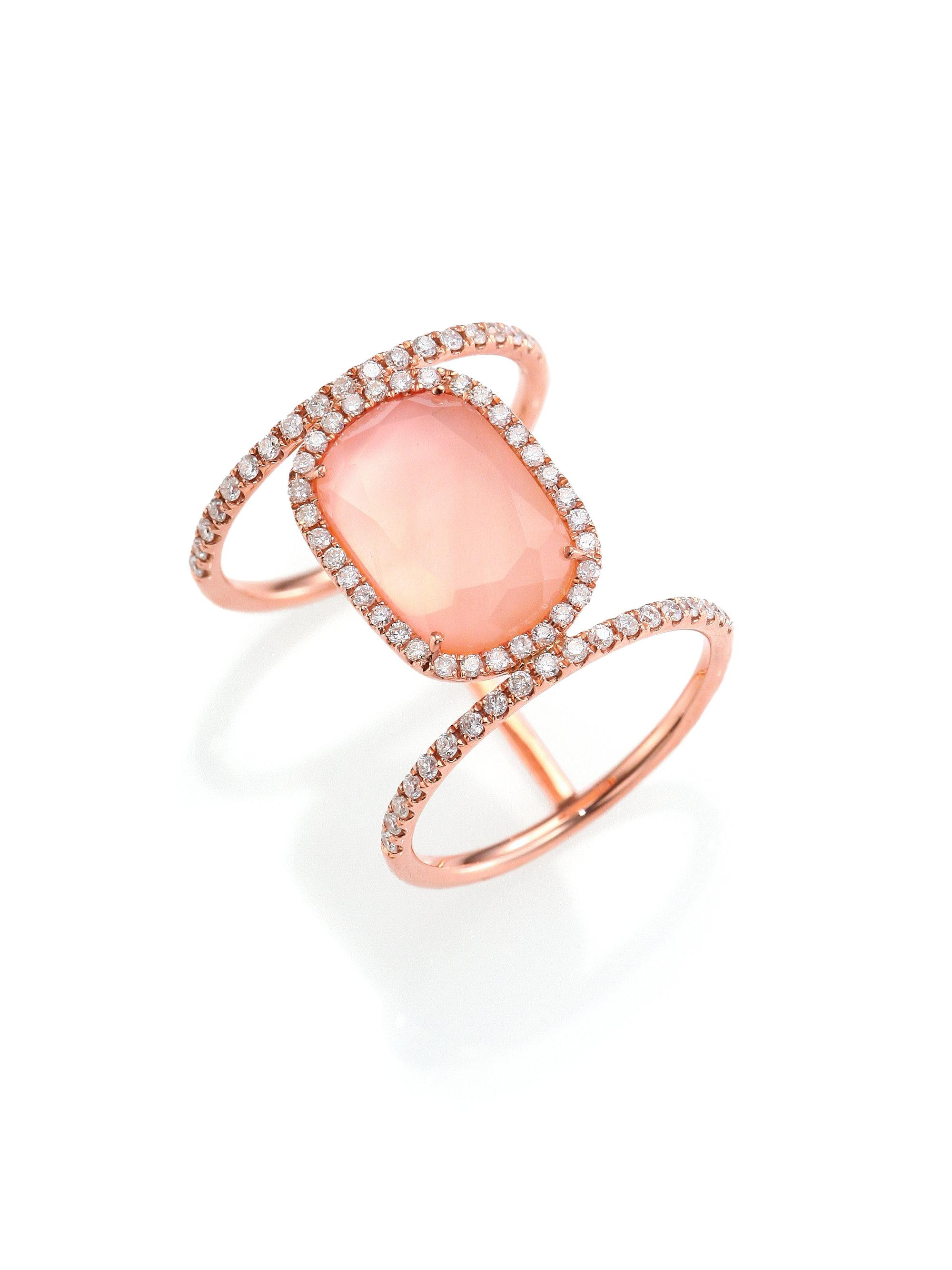 quartz rings cocktail gold ring collections courage pink statement rose
