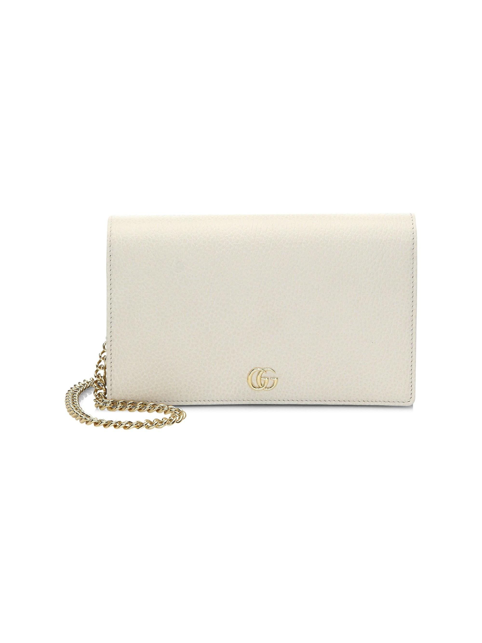 4d78ccb7893c6 Lyst - Gucci Women s Petite Marmont Wallet On Chain - Black in White