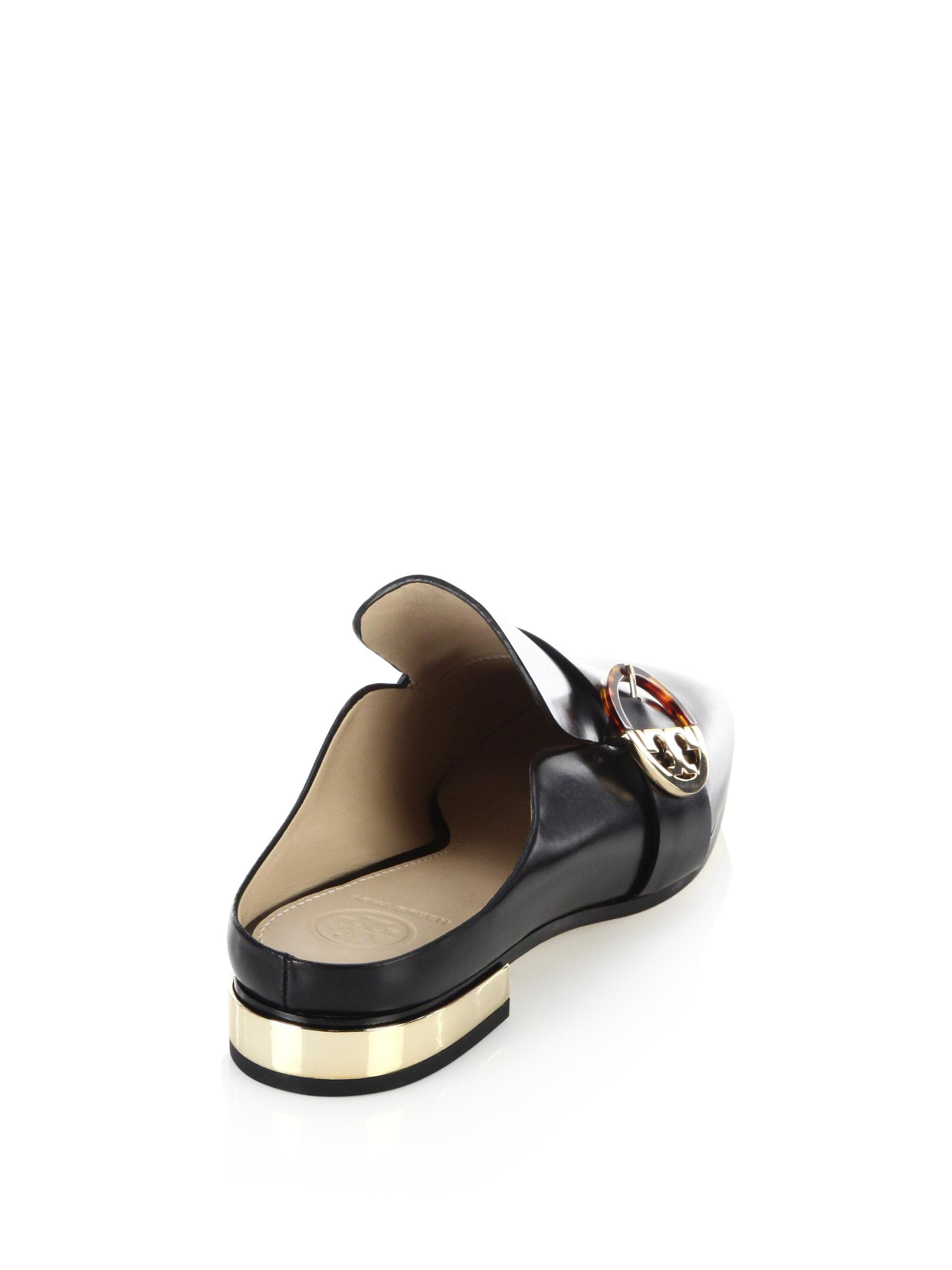 b5746b42b4ca Lyst - Tory Burch Sidney Backless Leather Loafers in Black