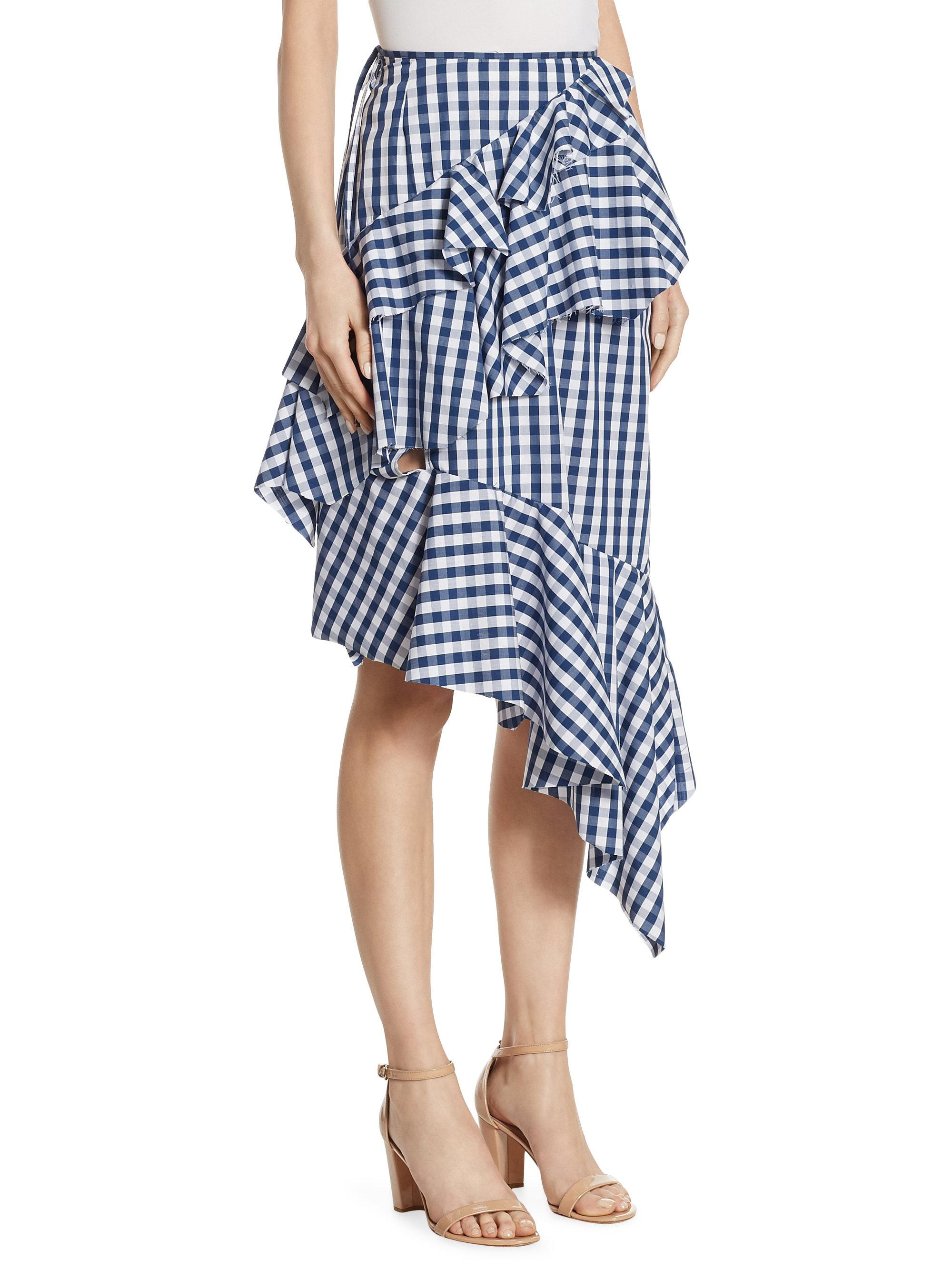 3dec42f03f Marques'Almeida Asymmetric Gingham Plaid Skirt in Blue - Lyst