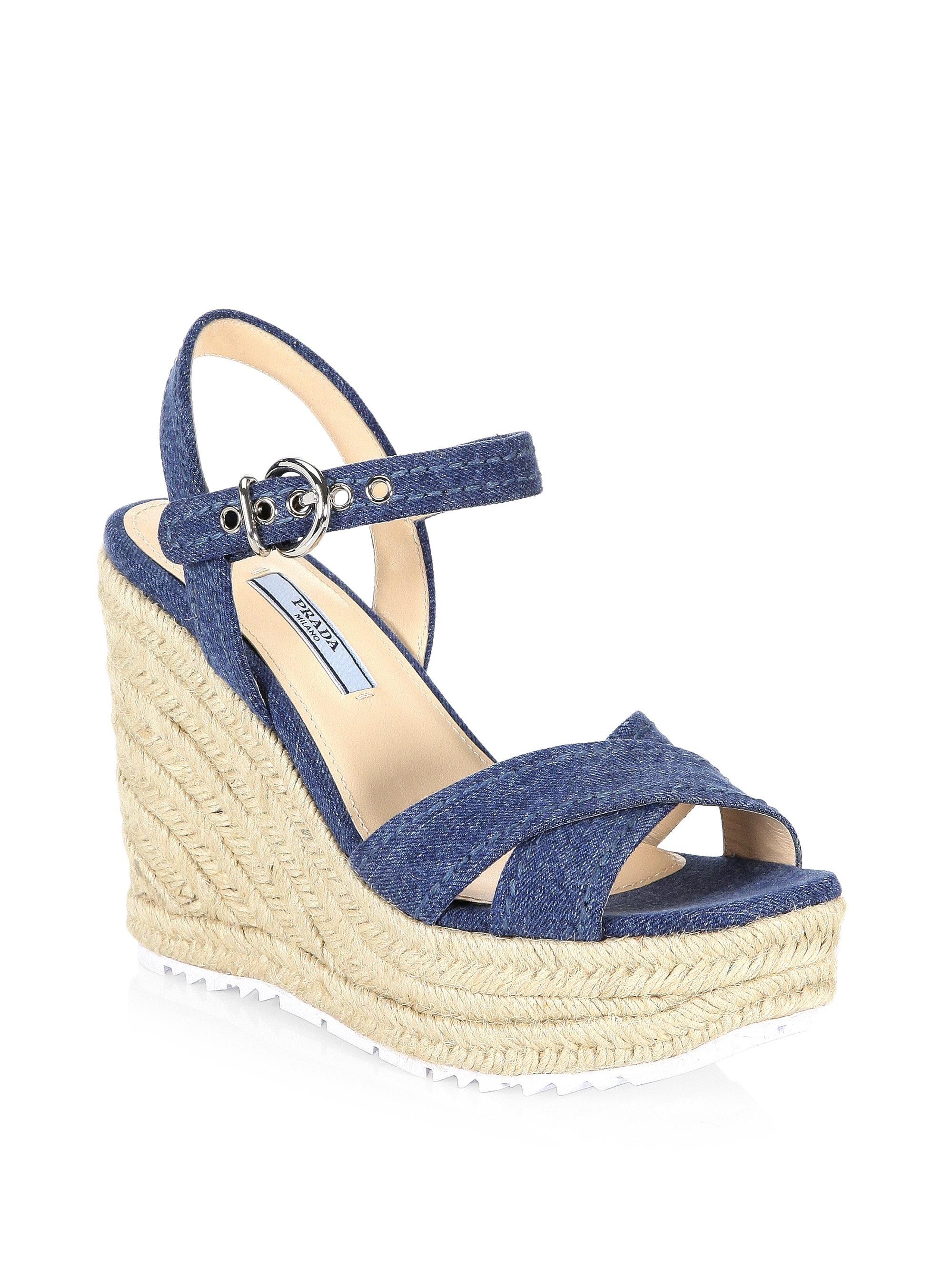 Prada Denim & Raffia Wedge Sandals 8dCJJ