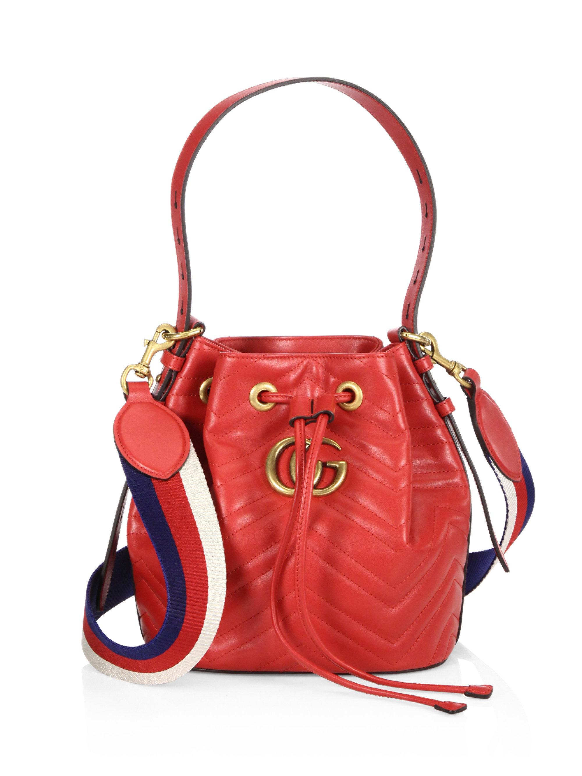 6345878ce2ebcd Gucci Gg Marmont Chevron Quilted Leather Bucket Bag in Red - Lyst