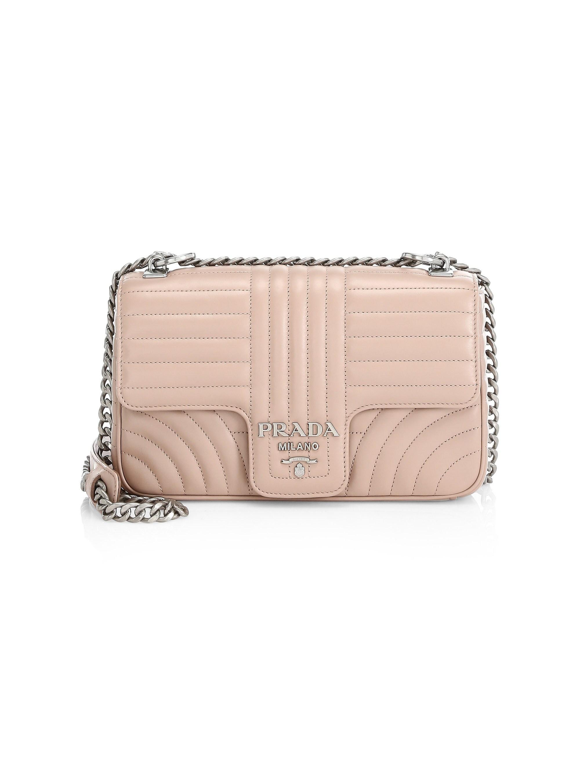 feadcaba8d8 Lyst - Prada Women s Medium Diagramme Leather Shoulder Bag - Cipria ...