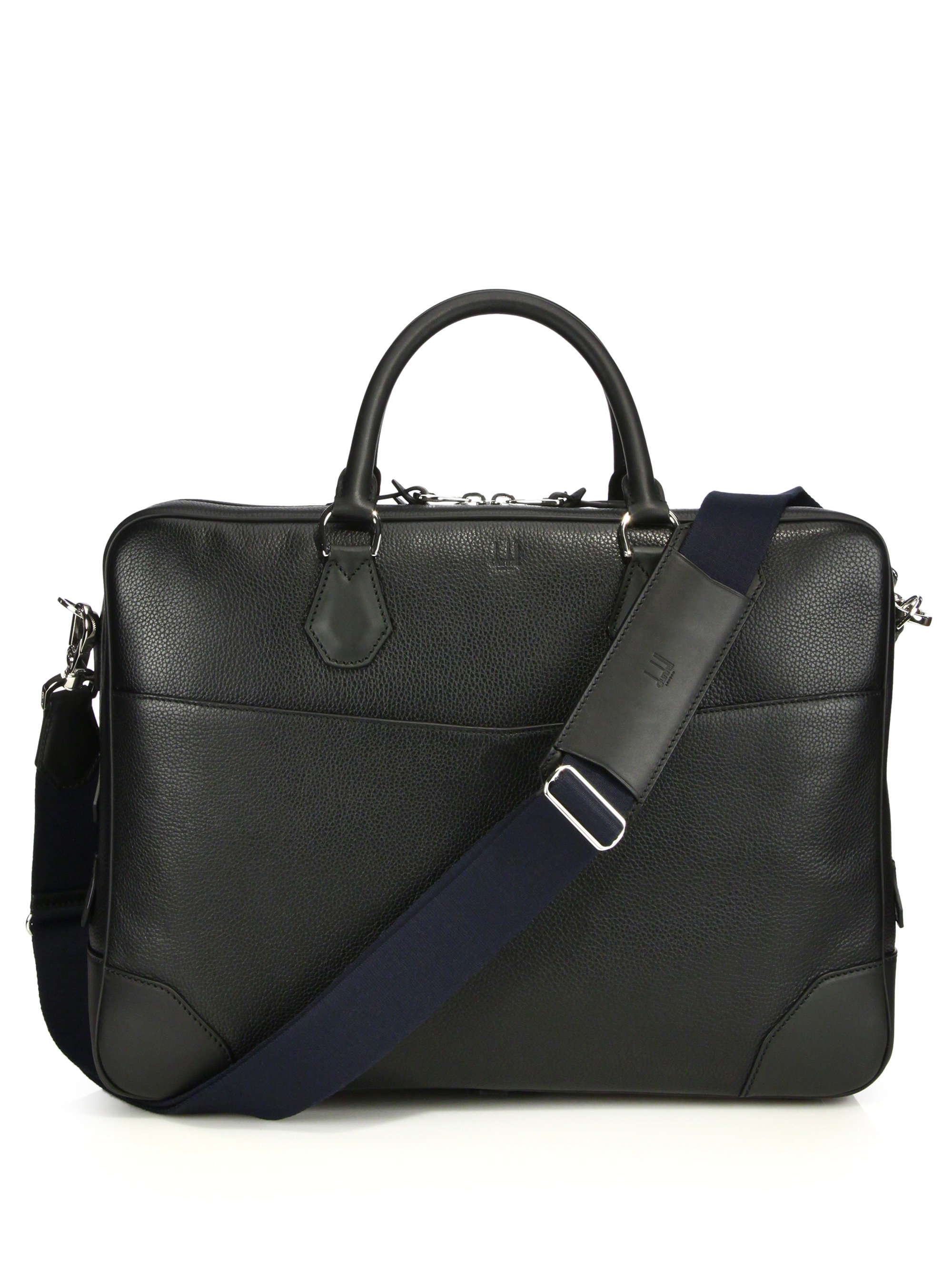 Dunhill Boston Double Gusset Leather Briefcase in Black ...