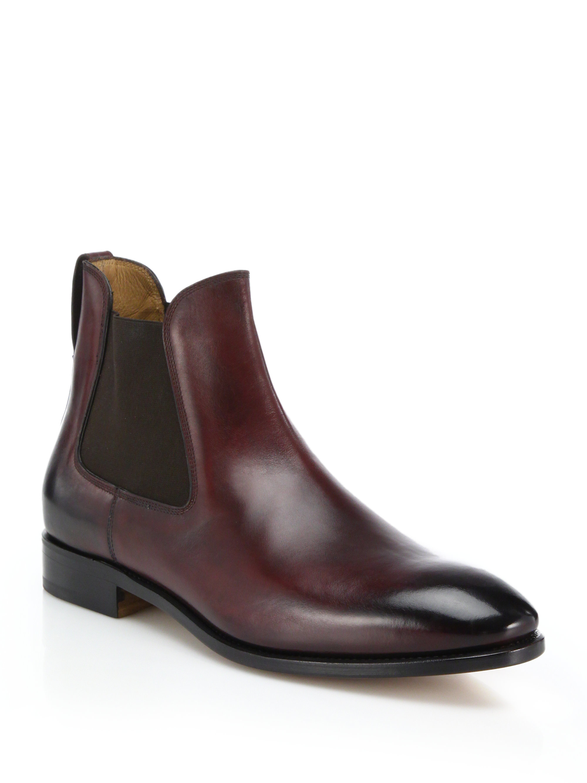 ferragamo marrico leather chelsea boots in black for