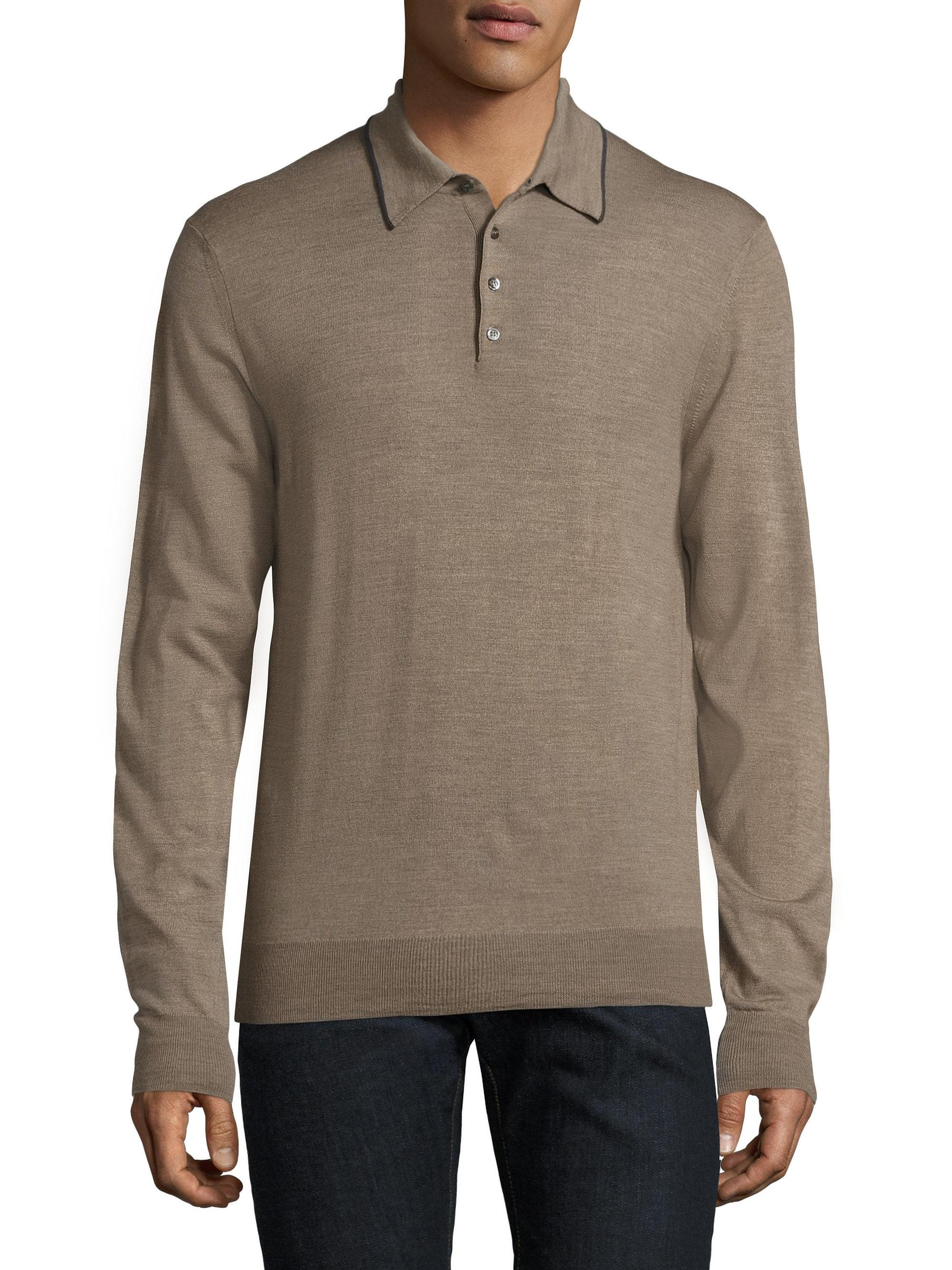 Saks fifth avenue merino wool long sleeve polo in natural for Long sleeve wool polo shirts