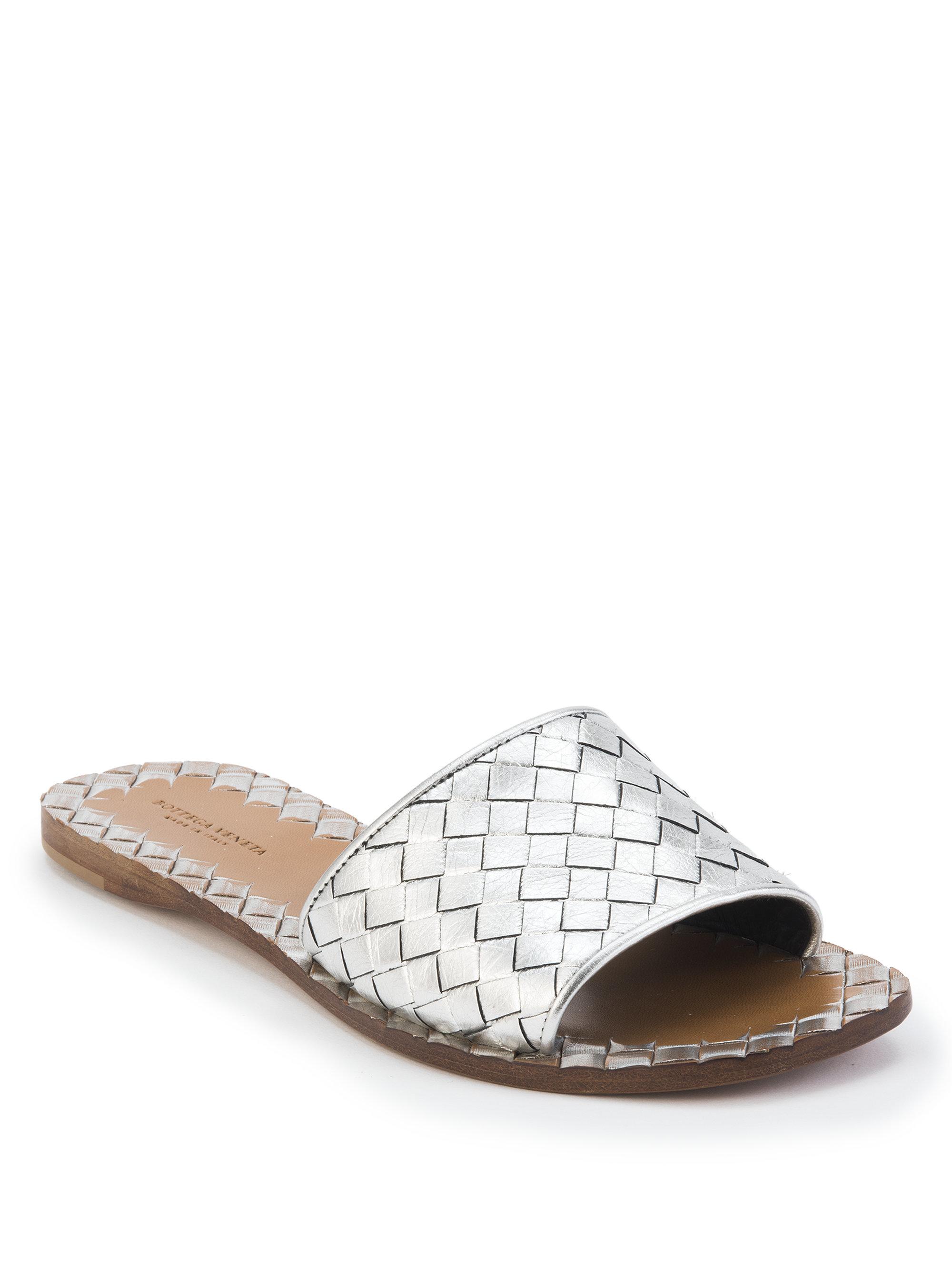 Lyst Bottega Veneta Woven Leather Slides In Metallic